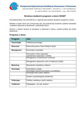 Struktura studijních programů a oborů OEAEP Programy a obory