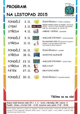 PROGRAM NA LISTOPAD 2015 - jednota bratrská liberec :: jblbc.cz