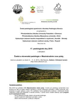 17. pedologické dny 2015 Česká a slovenská