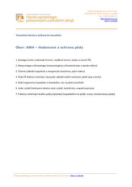 Obor: AMH – Hodnocení a ochrana půdy