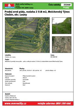 Prodej orné půdy, rozloha 2 518 m2, Mnichovský Týnec