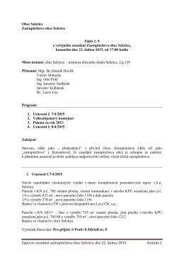 Zápis ze zasedání zastupitelstva obce Seletice, dne 22. dubna 2015