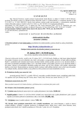 U S N E S E N Í – elektronická dražba- 29. dubna 2015v 10