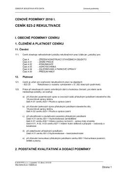 823-2   Rekultivace - Cenová soustava RTS DATA