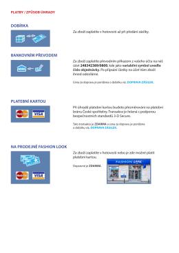 dobírka bankovním převodem platební kartou na prodejně fashion
