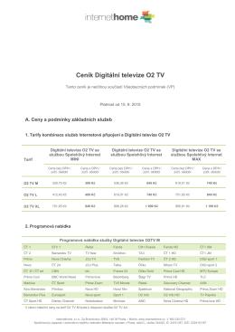 Ceník Digitální televize O2 TV