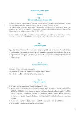 Kardioklub Praha, spolek Stanovy Čl. 1 Původ, vznik, název, forma a