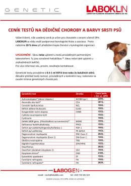 ceník testů na dědičné choroby a barvy srsti psů
