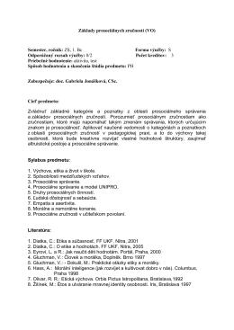 Základy prosociálnych zručností (VO) Semester