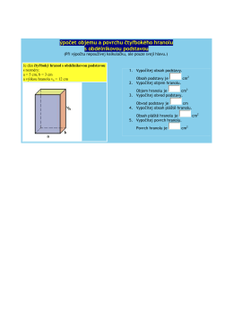 Výpočet objemu a povrchu čtyřbokého hranolu