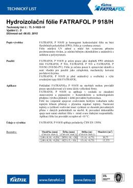 Střešní fólie FATRAFOL P 918/H