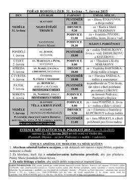 POŘAD BOHOSLUŽEB: 31. května - 7. června 2015 PUSTIMĚŘ