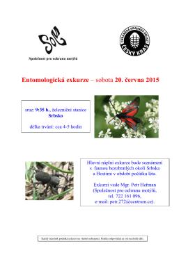 Entomologická exkurze – sobota 20. června 2015