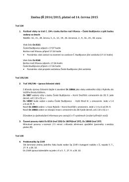 Změna JŘ 2014/2015, platné od 14. června 2015