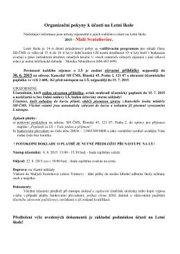 Organizační pokyny k účastni na Letní škole
