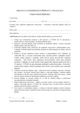 smlouva o podmínkách přípravy a realizace vodovodní přípojky