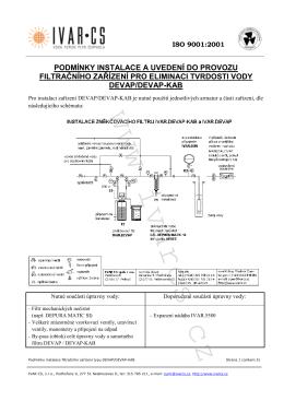 podmínky instalace a uvedení do provozu filtračního zařízení pro