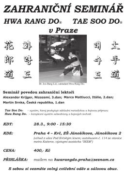 Seminář Hwa Rang Do a Tae So Do v Praze
