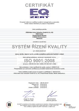 CERTIFIKÁT SYSTÉM ŘÍZENÍ KVALITY ISO 9001:2008
