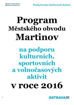Program městského obvodu Martinov na podporu