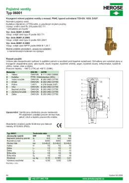 Pojistné ventily Typ 06001