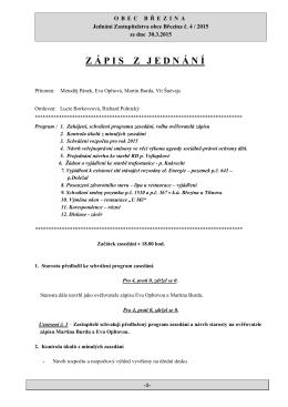 Zápis z jednání Zastupitelstva obce Březina ze dne