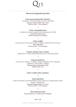 Silvestrovské degustační menu 2015