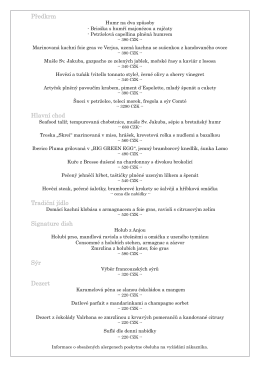 Předkrm Hlavní chod Tradiční jídlo Signature dish Sýr Dezert