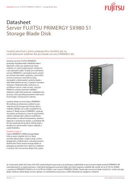 Datasheet Server FUJITSU PRIMERGY SX980 S1 Storage Blade Disk