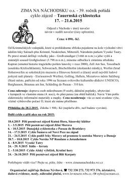 17. - 21.6.2015 Tauernská cyklostezka z Krimmlu do Passau