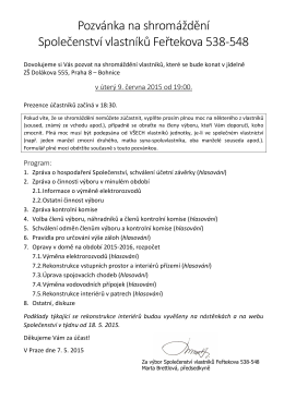 Pozvánka + program shromáždění vlastníků