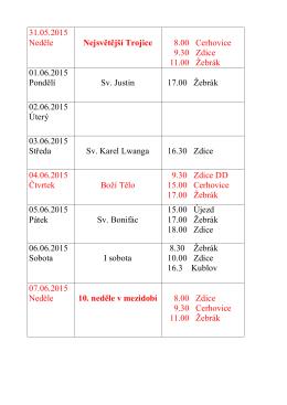 7. června 2015 - Římskokatolická farnost Žebrák