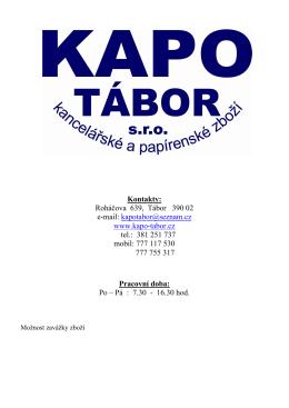Kontakty - KAPO TÁBOR, sro