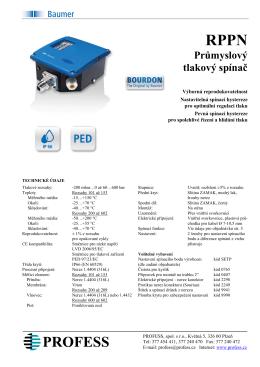 RPPN Průmyslový tlakový spínač