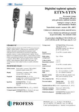 Digitální teplotní spínače ETTN-YTTN