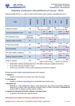 Nabídka zvolených rekvalifikačních kurzů - 2015