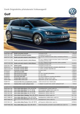 Ceník Originálního příslušenství Volkswagen®