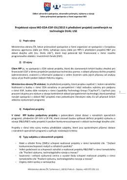 Projektová výzva MO-EDA-ESIF-DU/2015 k předložení projektů