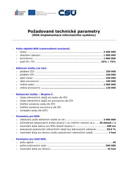 Požadované technické parametry ROS