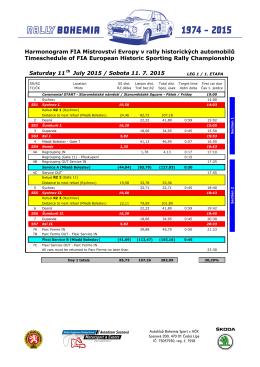 Saturday 11 th July 2015 / Sobota 11. 7. 2015 Harmonogram FIA