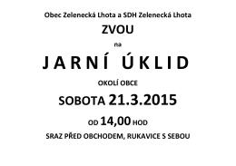 SOBOTA 21.3.2015 - Obec Zelenecká Lhota