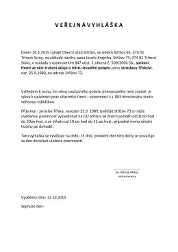 4 výzva k uplatnění práv účastníků řízení - Veřejná vyhláška