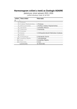 Harmonogram cvičení a testů ze Zoologie AEA09E