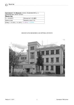 Školní a klasifikační řád - Gymnázium TG Masaryka, Litvínov