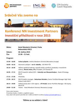 Konferenci NN Investment Partners Srdečně Vás zveme na