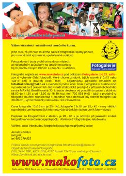 MAKOFOTO Strakonice - info pro účastníky kurzu