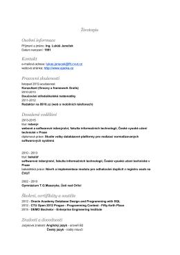 Ing. Lukáš Janeček - České vysoké učení technické v Praze