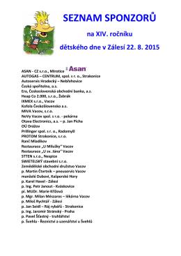 Sponzoři dětský den v Zálesí 2015