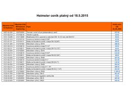 Heimeier ceník platný od 18.5.2015