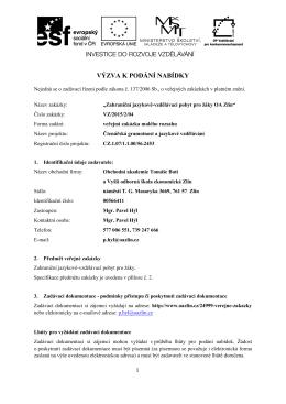 VÝZVA K PODÁNÍ NABÍDKY - Obchodní akademie Tomáše Bati